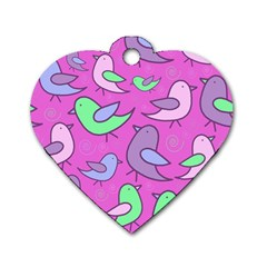 Pink Birds Pattern Dog Tag Heart (one Side) by Valentinaart