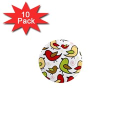 Decorative Birds Pattern 1  Mini Magnet (10 Pack)