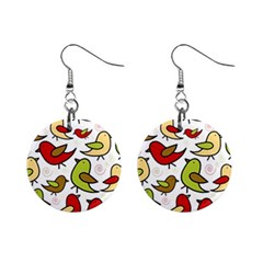 Decorative Birds Pattern Mini Button Earrings by Valentinaart