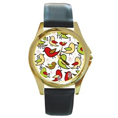 Decorative Birds Pattern Round Gold Metal Watch by Valentinaart