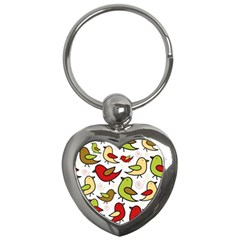 Decorative Birds Pattern Key Chains (heart)