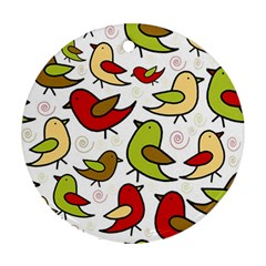 Decorative Birds Pattern Round Ornament (two Sides)  by Valentinaart