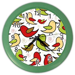 Decorative Birds Pattern Color Wall Clocks by Valentinaart