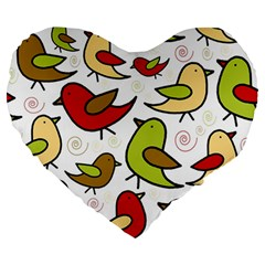 Decorative Birds Pattern Large 19  Premium Heart Shape Cushions by Valentinaart
