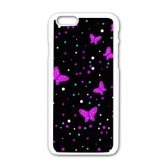 Pink Butterflies  Apple Iphone 6/6s White Enamel Case