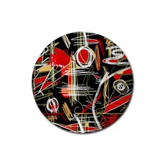Artistic Abstract Pattern Rubber Coaster (round)  by Valentinaart