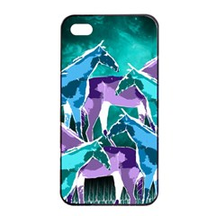 Horses Under A Galaxy Apple Iphone 4/4s Seamless Case (black)