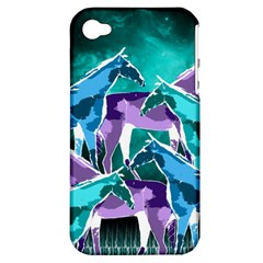 Horses Under A Galaxy Apple Iphone 4/4s Hardshell Case (pc+silicone) by DanaeStudio