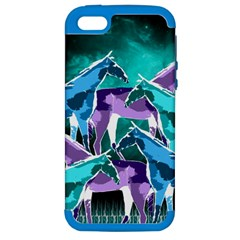 Horses Under A Galaxy Apple Iphone 5 Hardshell Case (pc+silicone)