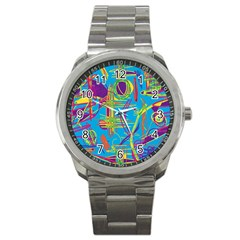 Colorful Abstract Pattern Sport Metal Watch by Valentinaart