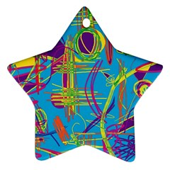 Colorful Abstract Pattern Star Ornament (two Sides)  by Valentinaart