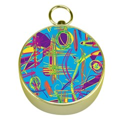 Colorful Abstract Pattern Gold Compasses