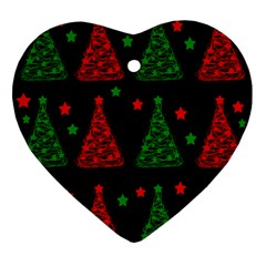 Decorative Christmas Trees Pattern Ornament (heart)