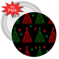 Decorative Christmas Trees Pattern 3  Buttons (10 Pack)  by Valentinaart