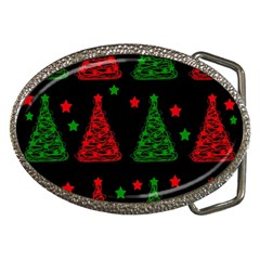 Decorative Christmas Trees Pattern Belt Buckles by Valentinaart