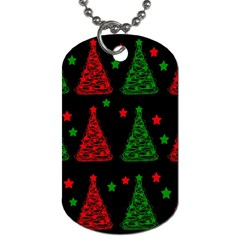 Decorative Christmas Trees Pattern Dog Tag (two Sides) by Valentinaart
