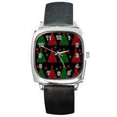 Decorative Christmas Trees Pattern Square Metal Watch by Valentinaart