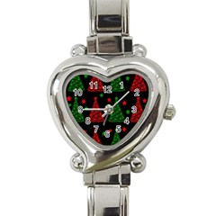 Decorative Christmas Trees Pattern Heart Italian Charm Watch by Valentinaart