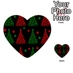 Decorative Christmas Trees Pattern Multi Purpose Cards (heart)  by Valentinaart