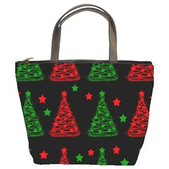 Decorative Christmas Trees Pattern Bucket Bags by Valentinaart