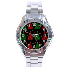Decorative Christmas Trees Pattern Stainless Steel Analogue Watch
