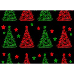 Decorative Christmas Trees Pattern Birthday Cake 3d Greeting Card (7x5)