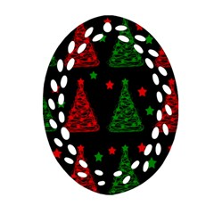 Decorative Christmas Trees Pattern Ornament (oval Filigree)  by Valentinaart
