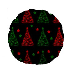 Decorative Christmas Trees Pattern Standard 15  Premium Round Cushions by Valentinaart
