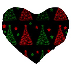 Decorative Christmas Trees Pattern Large 19  Premium Heart Shape Cushions by Valentinaart