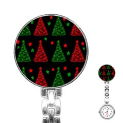 Decorative Christmas Trees Pattern Stainless Steel Nurses Watch