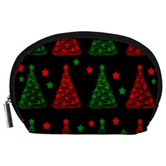 Decorative Christmas Trees Pattern Accessory Pouches (large)  by Valentinaart