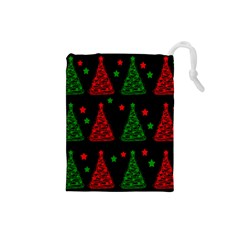 Decorative Christmas Trees Pattern Drawstring Pouches (small)  by Valentinaart