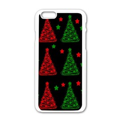 Decorative Christmas Trees Pattern Apple Iphone 6/6s White Enamel Case by Valentinaart