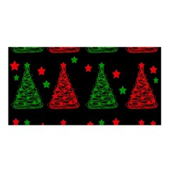 Decorative Christmas Trees Pattern Satin Shawl by Valentinaart