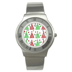 Decorative Christmas Trees Pattern   White Stainless Steel Watch by Valentinaart