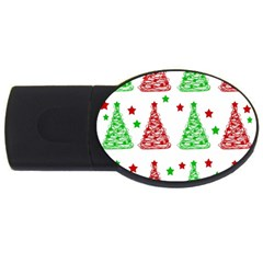 Decorative Christmas Trees Pattern   White Usb Flash Drive Oval (4 Gb)
