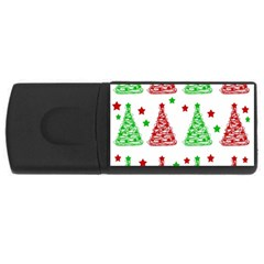 Decorative Christmas Trees Pattern   White Usb Flash Drive Rectangular (4 Gb)  by Valentinaart