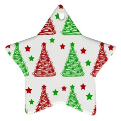 Decorative Christmas Trees Pattern   White Star Ornament (two Sides)  by Valentinaart