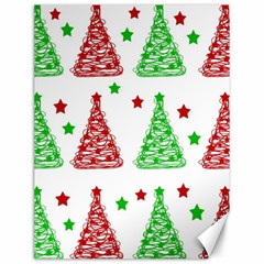 Decorative Christmas Trees Pattern   White Canvas 12  X 16   by Valentinaart