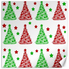 Decorative Christmas Trees Pattern   White Canvas 16  X 16   by Valentinaart
