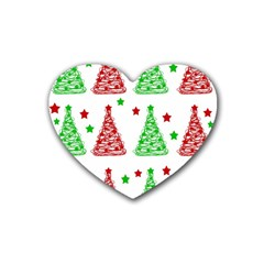 Decorative Christmas Trees Pattern   White Rubber Coaster (heart)  by Valentinaart