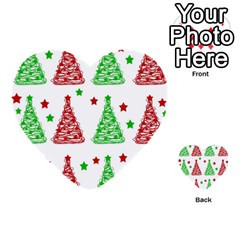 Decorative Christmas Trees Pattern   White Multi Purpose Cards (heart)