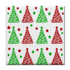 Decorative Christmas Trees Pattern   White Face Towel by Valentinaart