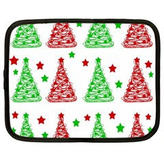 Decorative Christmas Trees Pattern   White Netbook Case (xl)  by Valentinaart