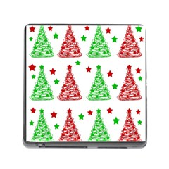 Decorative Christmas Trees Pattern   White Memory Card Reader (square)