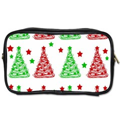 Decorative Christmas Trees Pattern   White Toiletries Bags 2 Side by Valentinaart