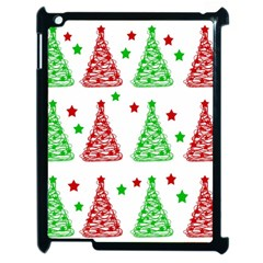 Decorative Christmas Trees Pattern   White Apple Ipad 2 Case (black) by Valentinaart