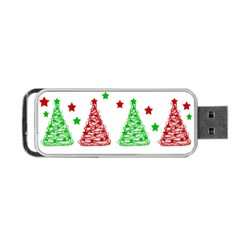 Decorative Christmas Trees Pattern   White Portable Usb Flash (two Sides) by Valentinaart