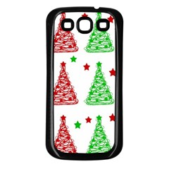 Decorative Christmas Trees Pattern   White Samsung Galaxy S3 Back Case (black)