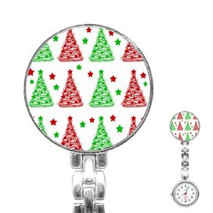 Decorative Christmas Trees Pattern   White Stainless Steel Nurses Watch by Valentinaart